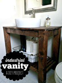 DIY Industrial Farmhouse Bathroom Vanity | Industrial ...