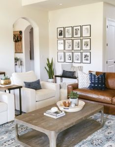 Living room decor interior design traditional modern boho camel leather couch also rh pinterest