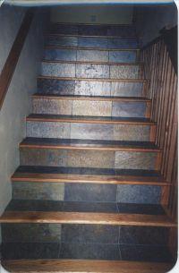 wood stair treads tile inlay | Kendall's Custom Wood ...