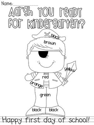 Kindergarten, 1st and 2nd grade pirate coloring .pages for