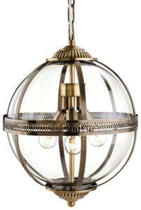 Mayfair 3413 Antique Brass Glass Globe Lantern Pendant ...