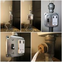 Industrial Chic Pipe Table Lamp with USB outlet and ...