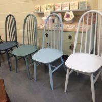 Set of 4 Ercol style chairs each painted in a blue/green ...