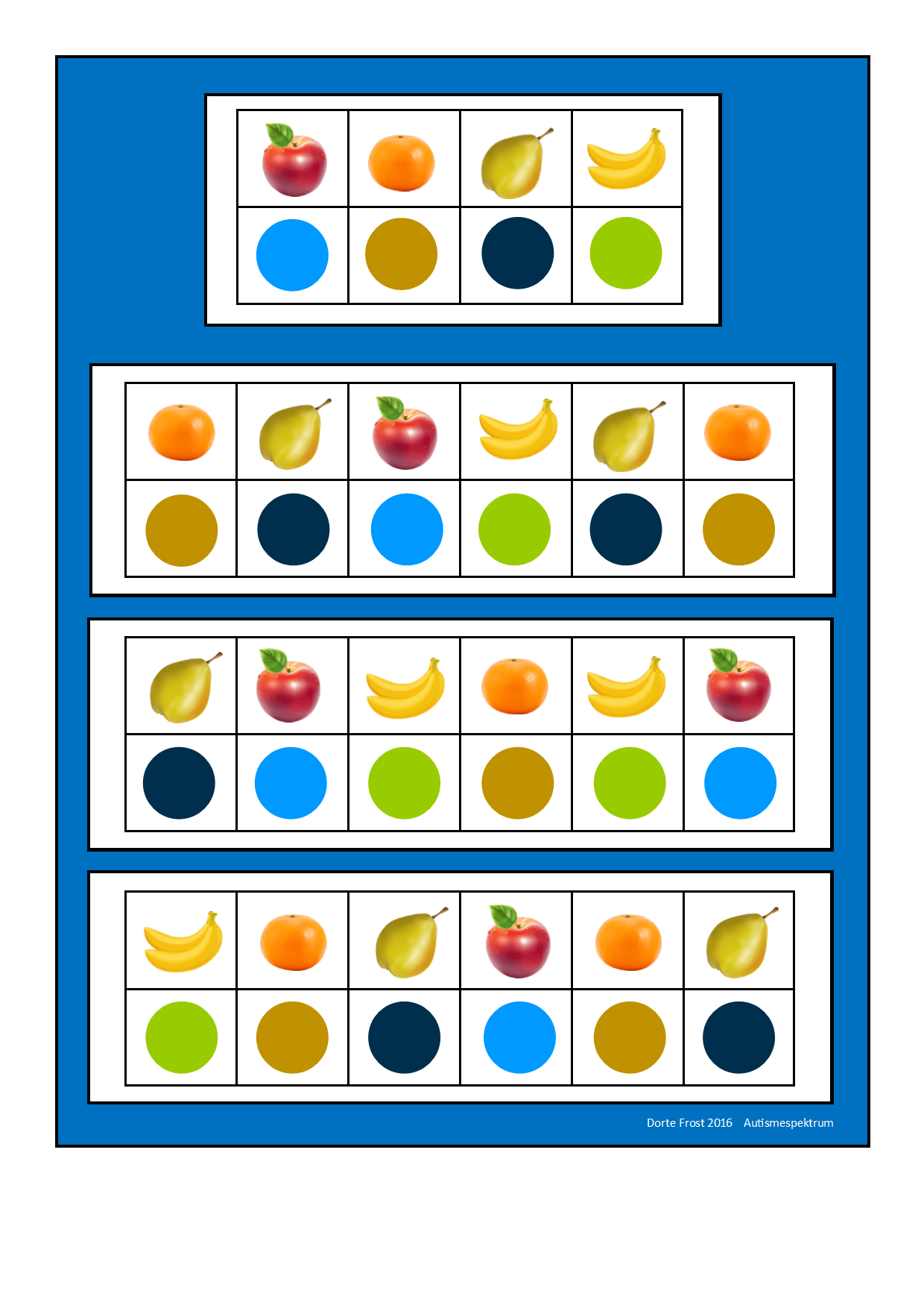 Tiles For The Two Fruit Visual Perception Game Find The