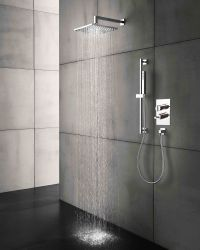 Thermostatic tub/shower valve trim with 2
