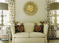 Chic living room design with ivory walls paint color, gold ...