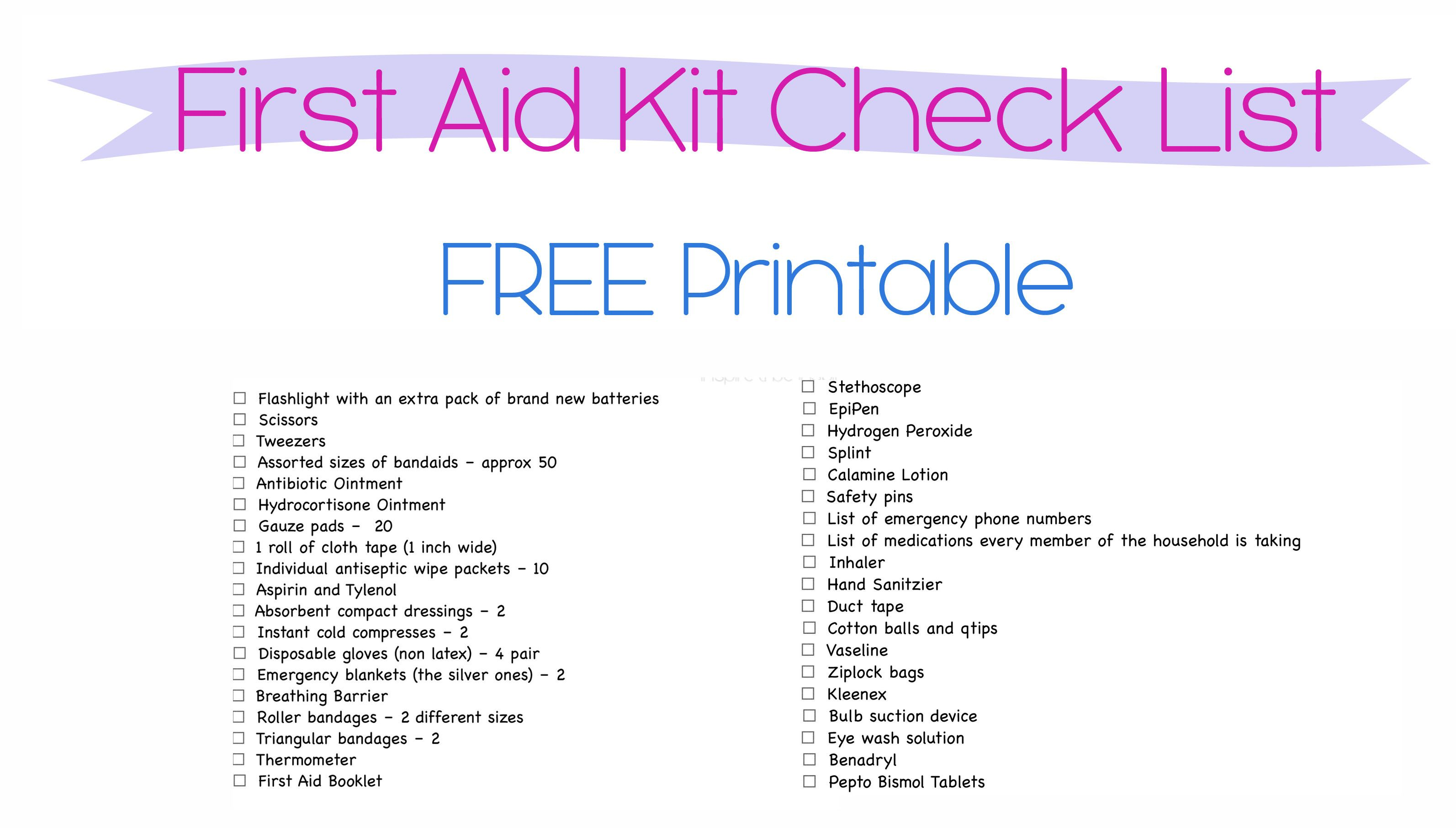 Free Printables First Aid Kit Check List