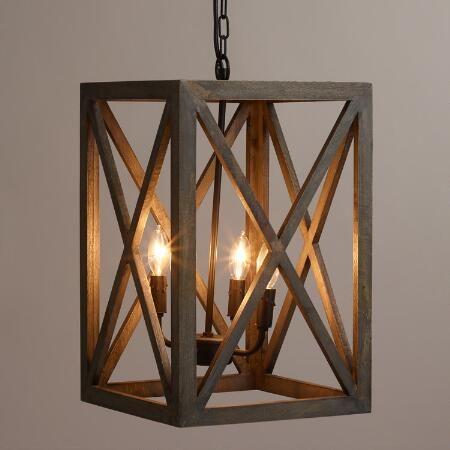 Gray Wood And Iron Valencia Chandelier World Market Pendant Lights For Kitchenfarmhouse