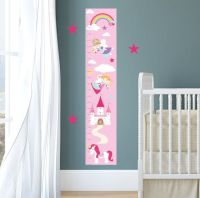 Personalized Growth Chart Decal, Rainbow Unicorn Height
