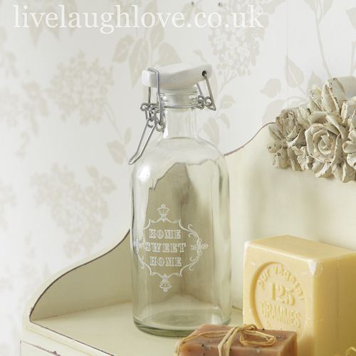 Decorative Glass Bottle With Ceramic Lid Home Sweet Home Botle