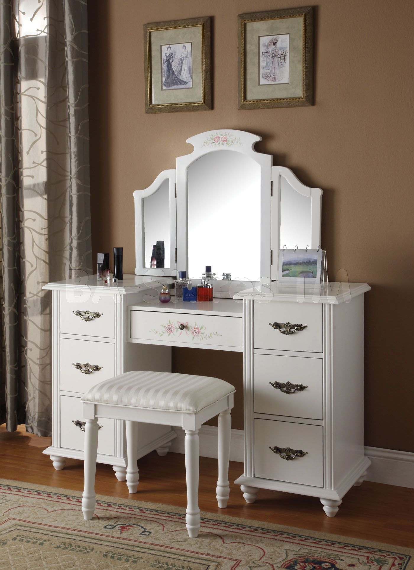 bedroom vanity | vanities and mirrors: torian white tri-fold