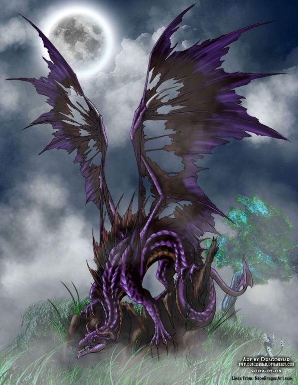 Dark Fantasy Art Dragons Dragon In Moonlight Dragonniar Deviantart