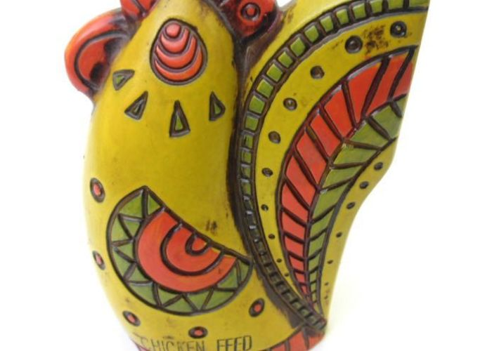 Vintage mod ceramic chicken bank  psychedelic groovy orange yellow green feed retro pop art also