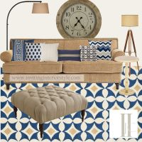 Navy and Camel Living Room - Updated color palette with ...