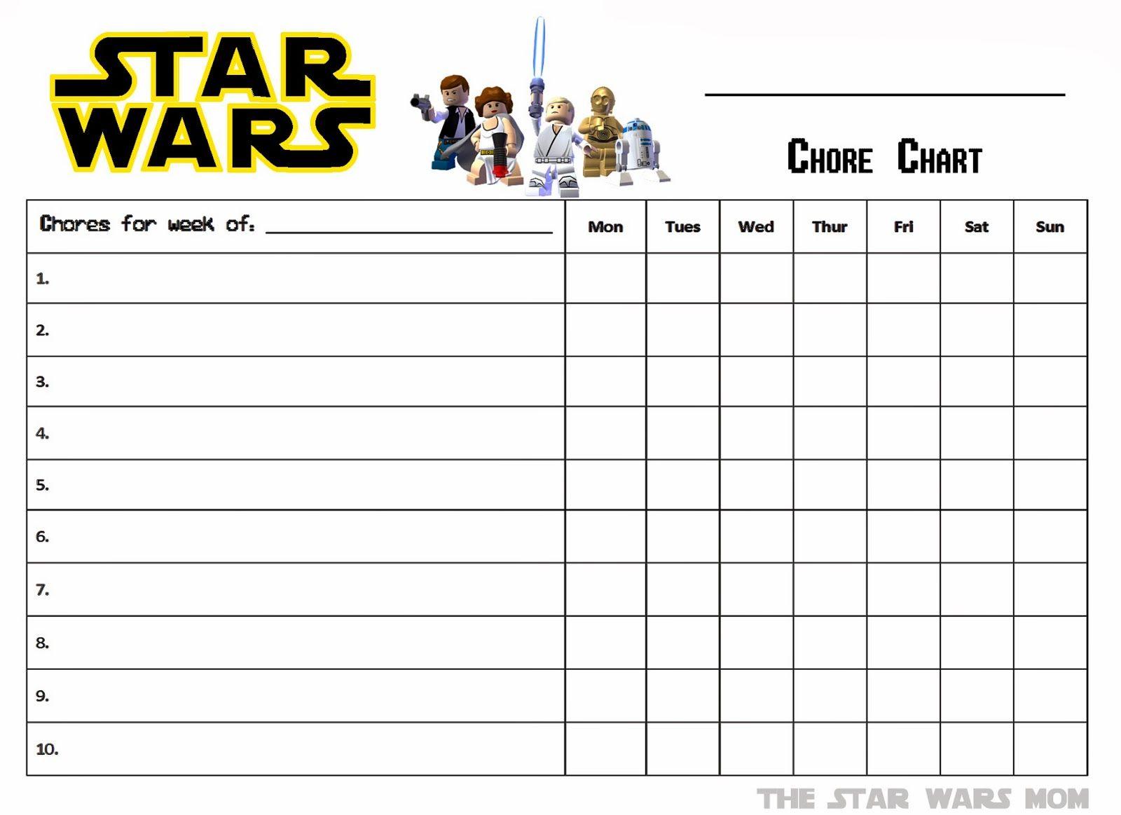 Star Wars Free Printable Chore Chart