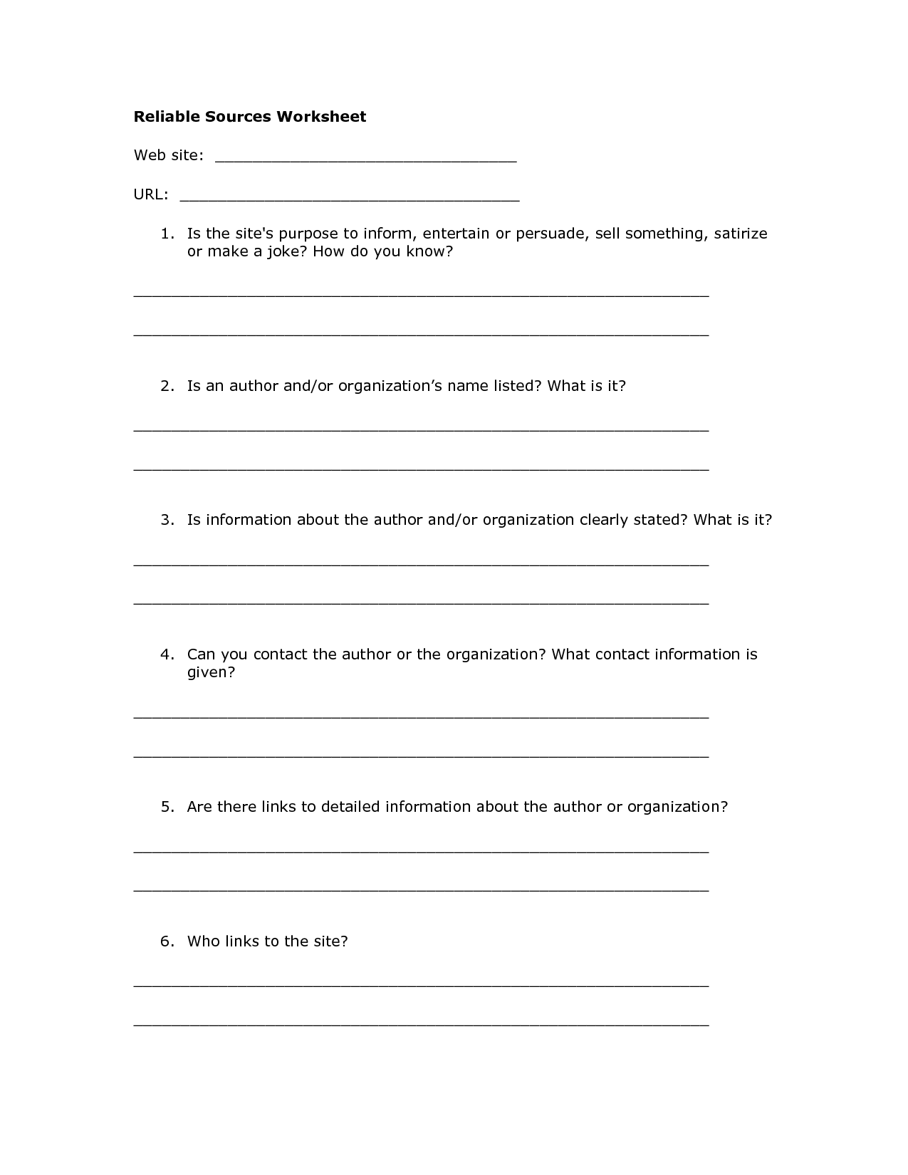 Reliable Sources Worksheet