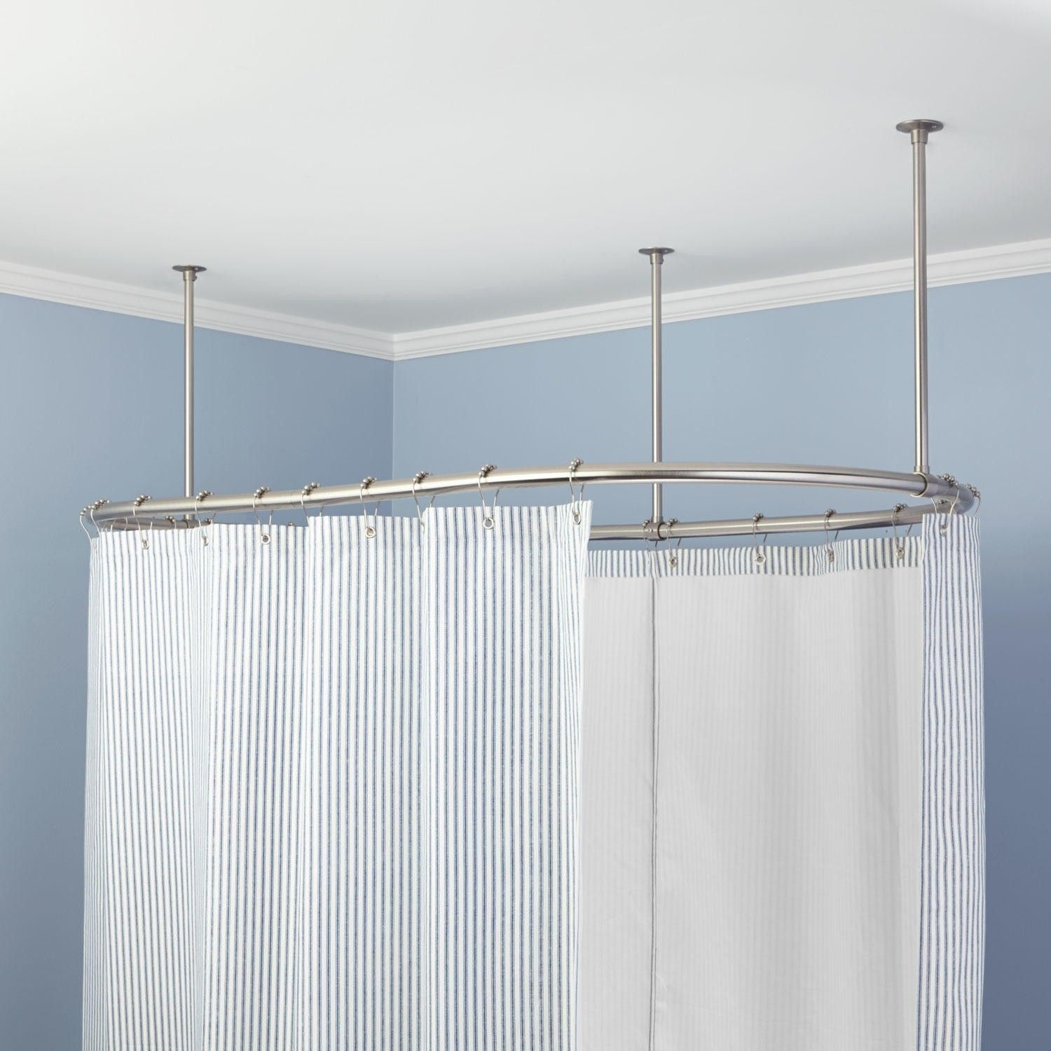 Oval Solid Brass Shower Curtain Rod Clawfoot Tubs Curtain Rods