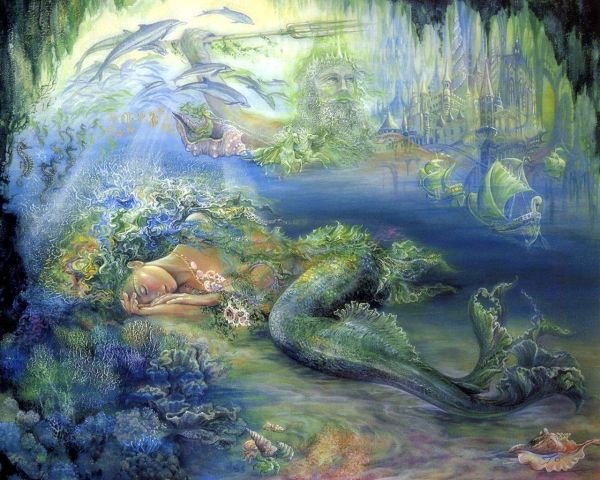 Josephine Wall Artist Sleeping Mermaid King Neptune