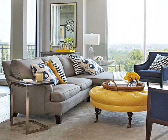 Blues and yellows make for  cool contemporary living room click through more also how to pull look together modern condo rooms small rh pinterest
