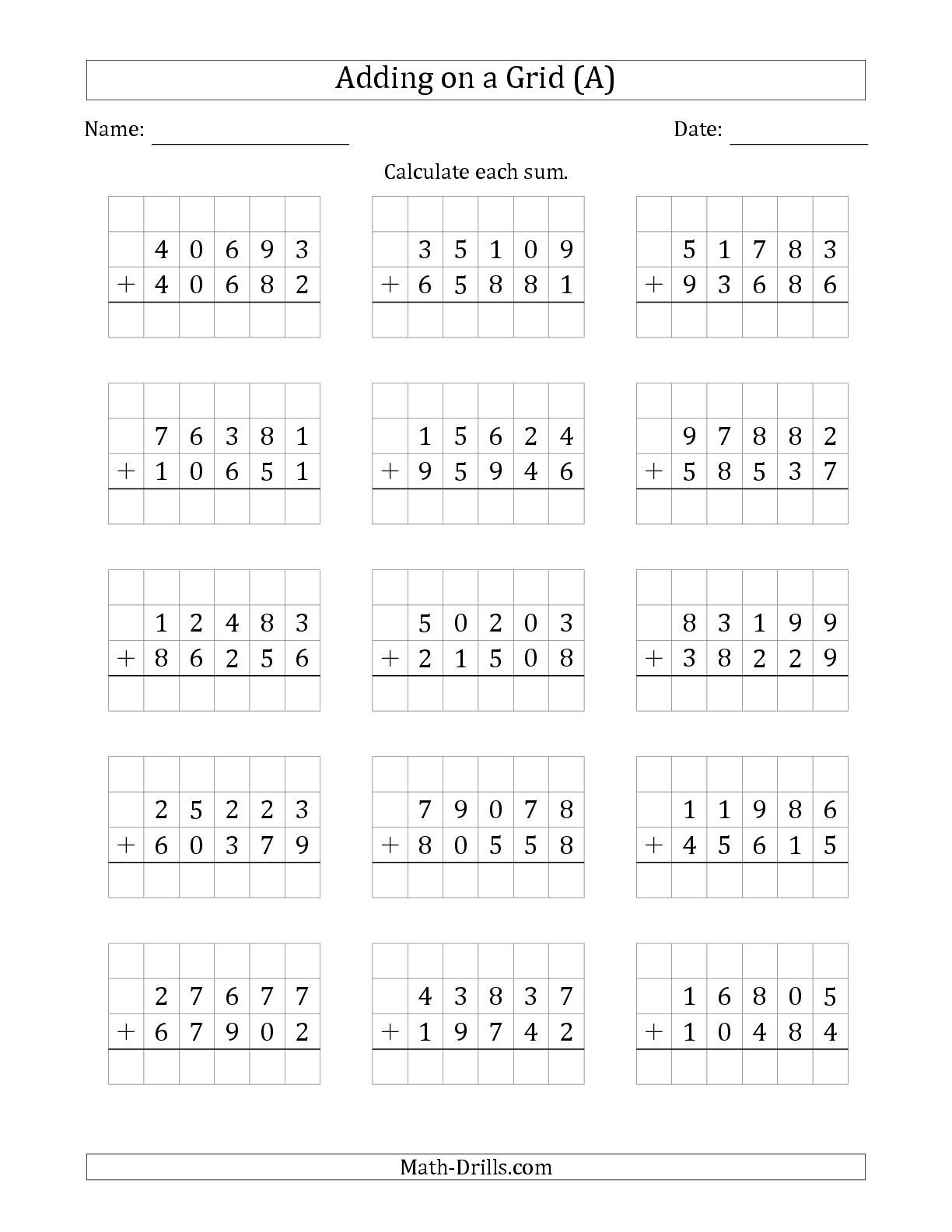 The Adding 5 Digit Plus 5 Digit Numbers On A Grid A Math Worksheet From The Addition Worksheet