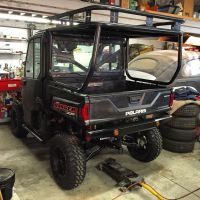 ROLL CAGE, ROOF AND SAFARI RACK INSTALLED ON A POLARIS ...