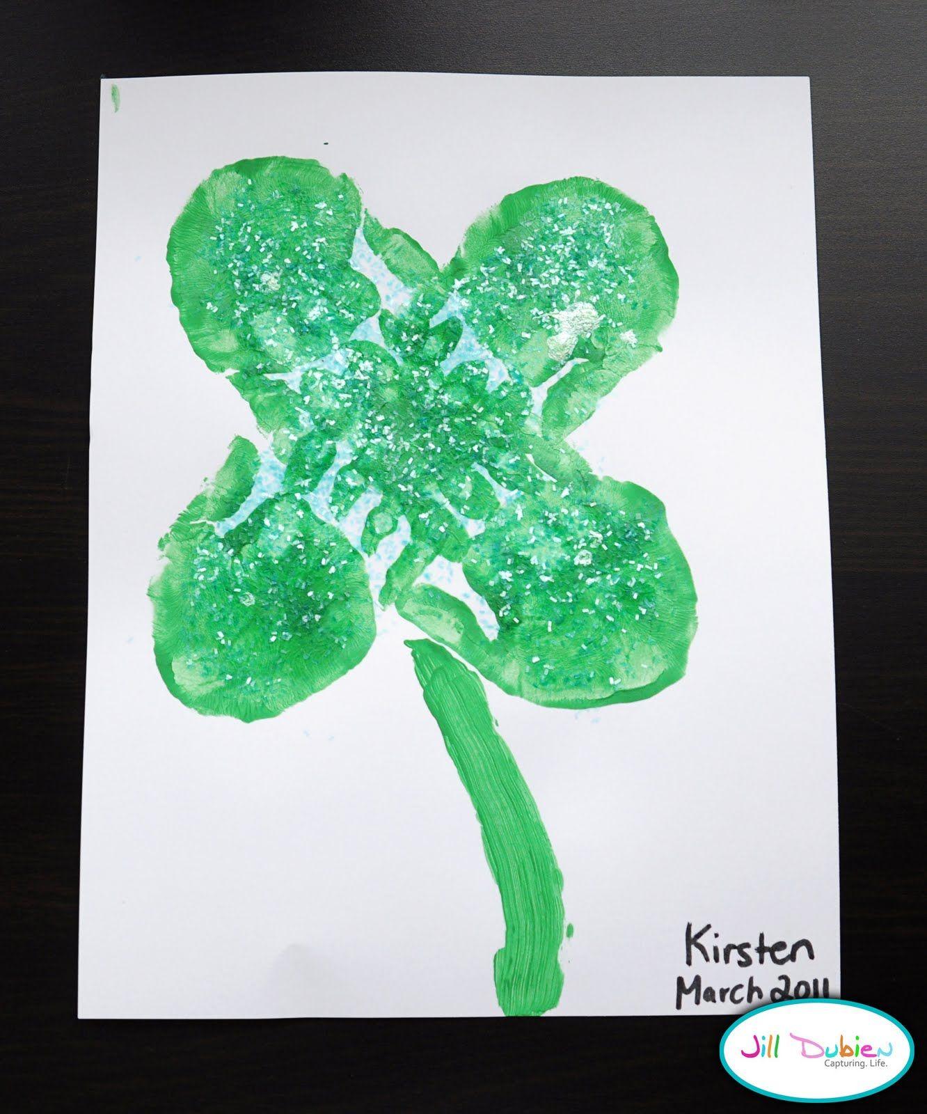 Lucky Handprint 4 Leaf Clovers Craft For Kids