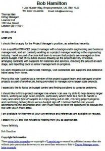 Cover Letter Example for a Project Manager  Career Tips and Resumes  Pinterest  Cover letter