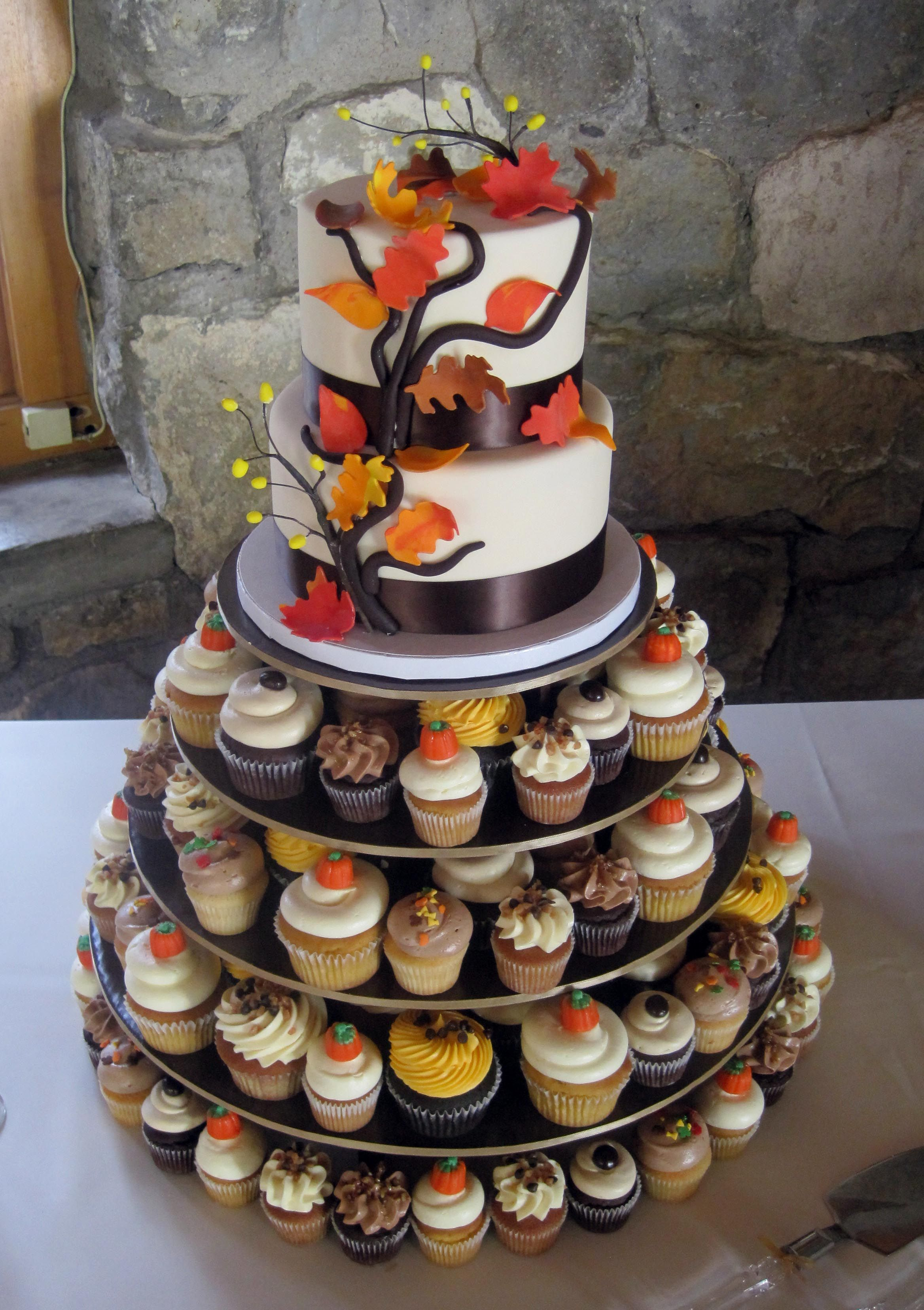 2 Tier Autumn Cutting Cake And Assorted Cupcakes