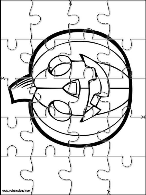 Printable jigsaw puzzles to cut out for kids Halloween 23