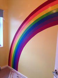 Rainbow painted on wall for nursery. Used paint tester ...