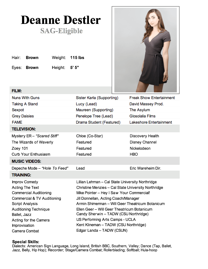 Acting Resume Sample No Experience Resumecareer Info
