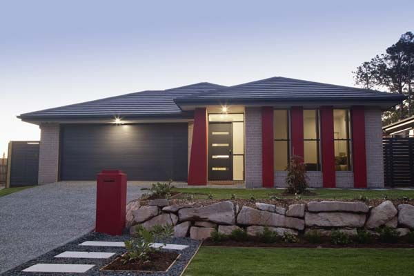 Gray With Red Trim Exterior Paints Grey Home With Red Accents