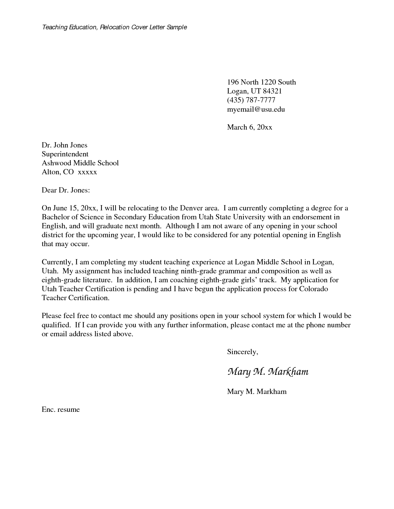 Letters For Teachers Relocating MedwebcomRelocation Cover Letter