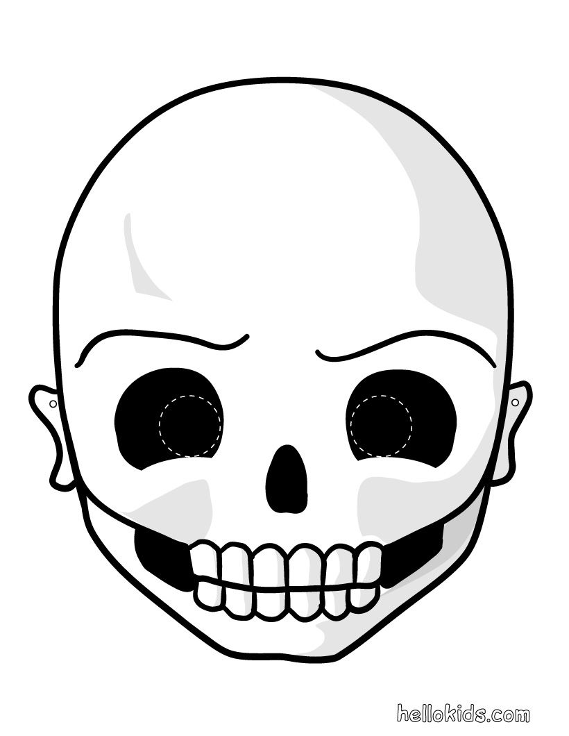 Printable halloween masks skull mask to print and cut out