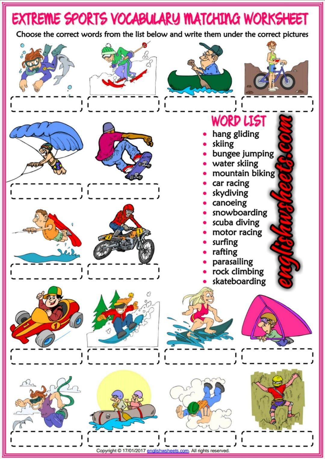 Extreme Sports Esl Printable Matching Exercise Worksheet For Kids
