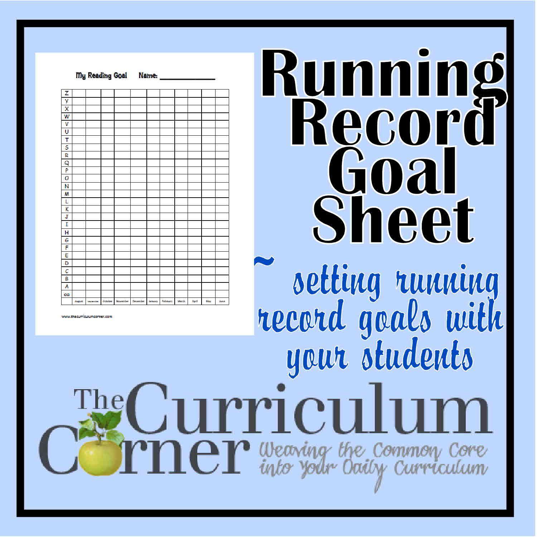 Running Record Goal Setting Sheet