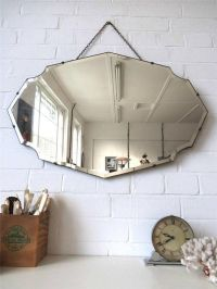 Vintage Large Bevelled Edge Wall Mirror Frameless Mirror ...