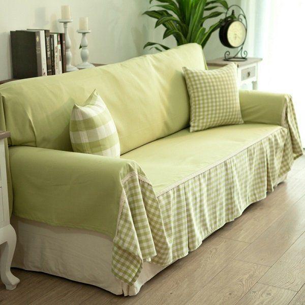 Cheap DIY Sofa Cover Ideas Green Fabrics Decorative Pillows