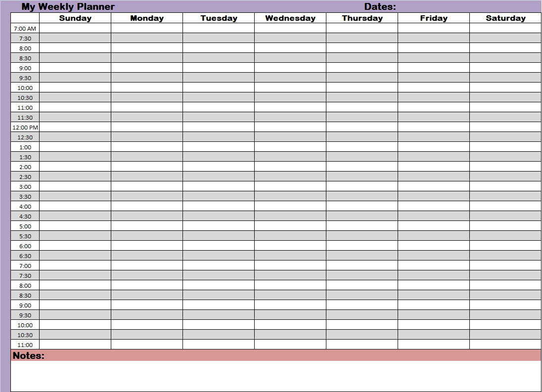 Weekly Hourly Time Management Sheet