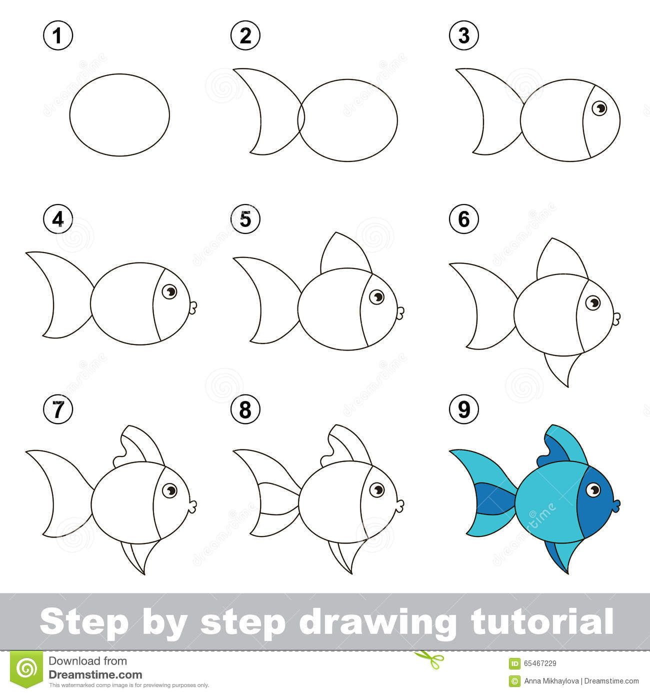 Drawing Tutorial How To Draw Cute Fish Step Step Visual