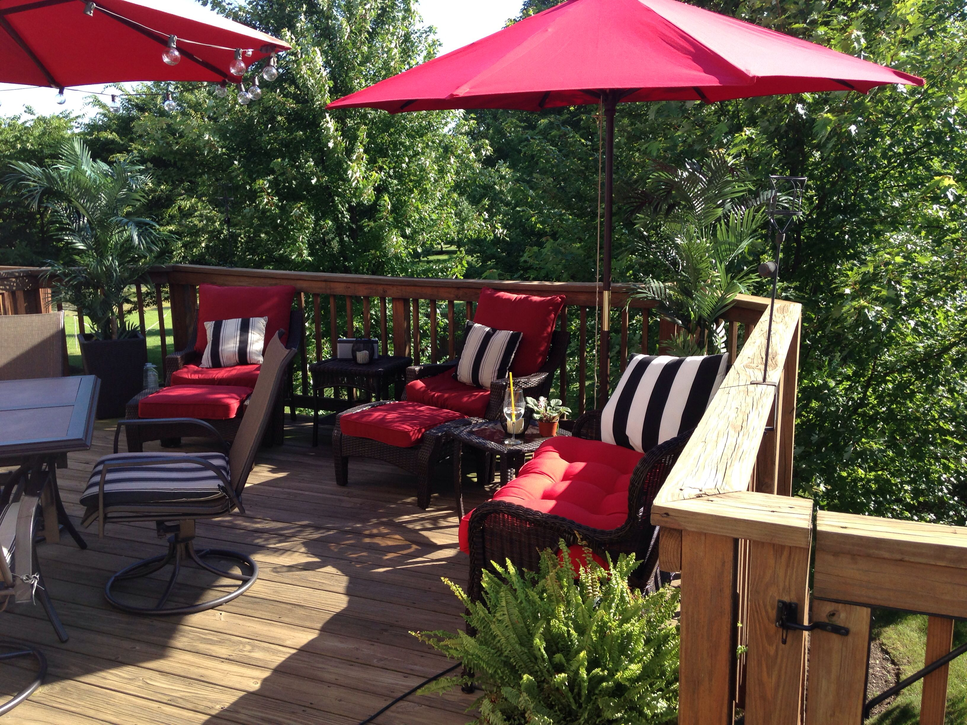 Red Patio Furniture Cushions With Black And White Striped