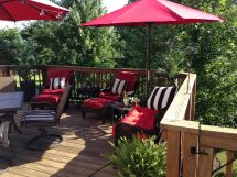 Black and Red Patio Furniture Cushions