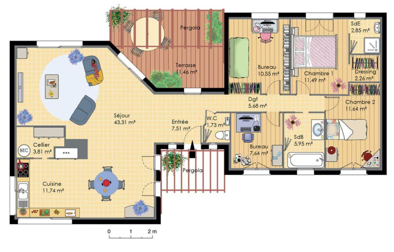 plan de maison en bois concu par un architecte avec terrasse et pergola cuisine
