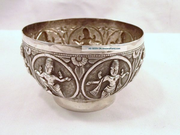 Vintage Eastern Indian Silver Bowl With Dancing Figures