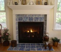 I like the way the tiles are in front of the fireplace, as ...