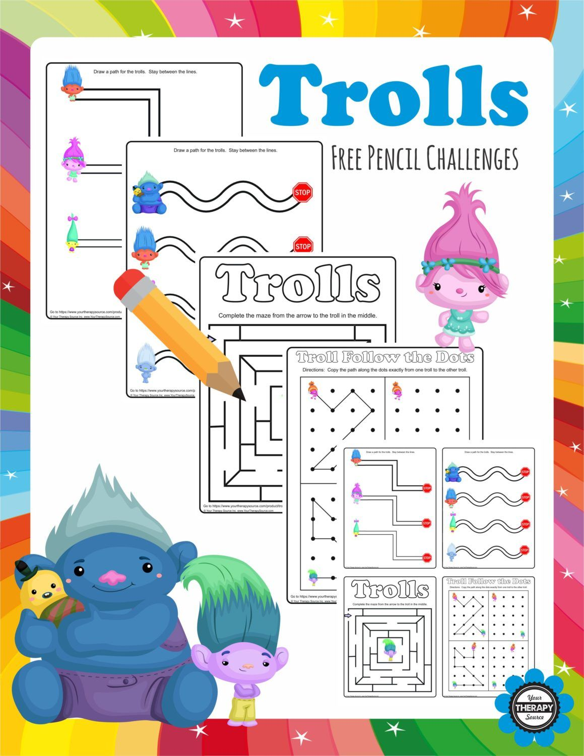 Trolls Pencil Challenges 4 Freebie Pages To Challenge