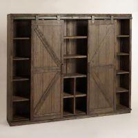 Wood Farmhouse Barn Door Bookcase | Barn doors, Tv ...