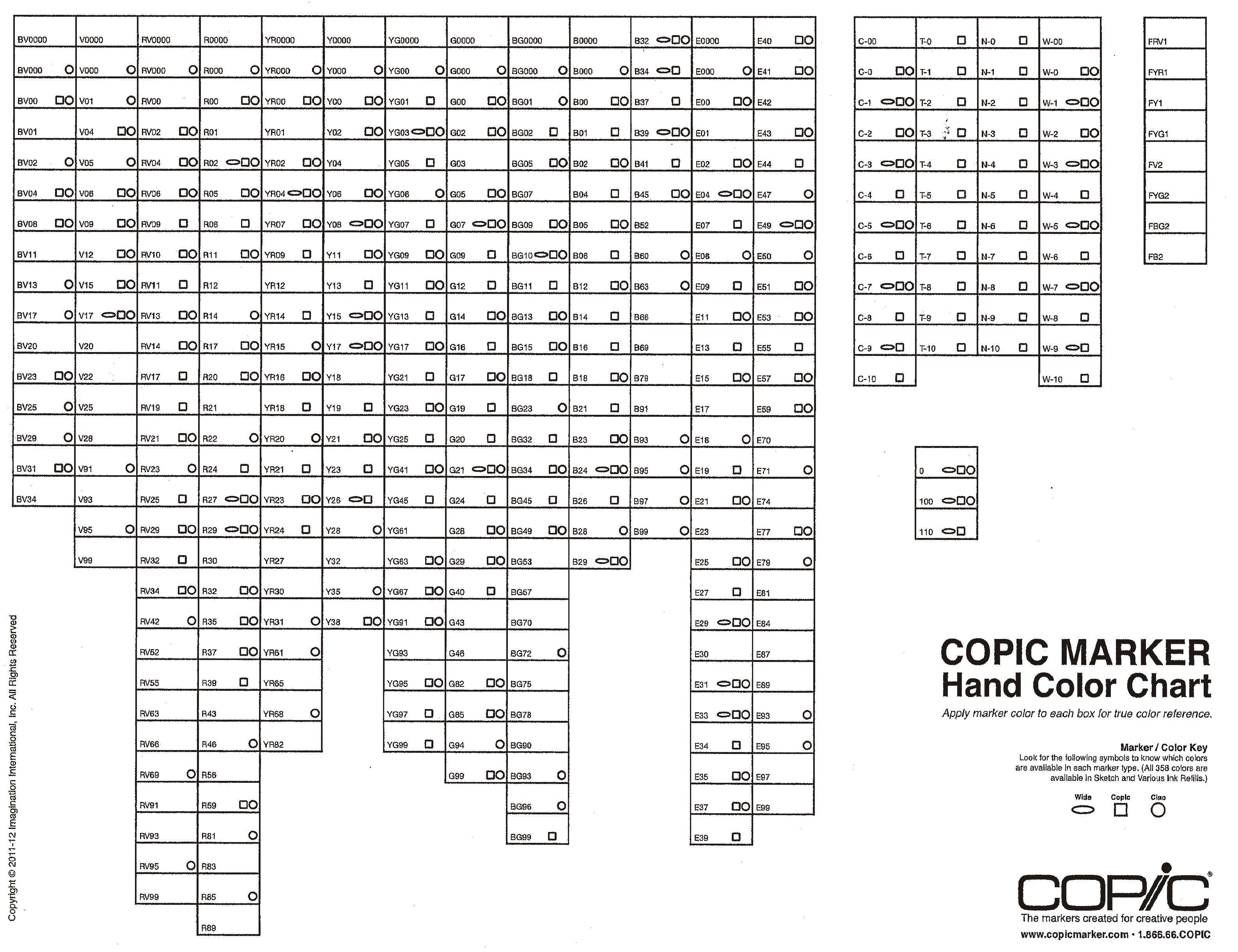 Spectrum Noir Copic Color Conversion Chart Sketch Coloring Page