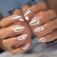 Bedazzled Chrome Nude Nails by @celinaryden. | Studs and ...