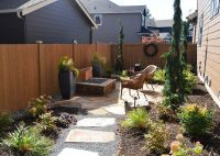 Small side yard - flagstone patio with natural gas fire ...
